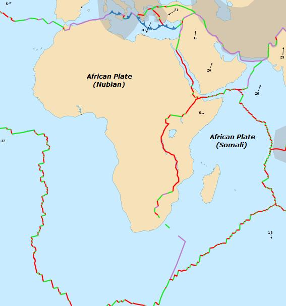 Future tectonics africanarabian tectonic plates the east african rift separates the nubian and somalian plates by continental rift boundaries red continental transform boundaries green gumiabroncs Images